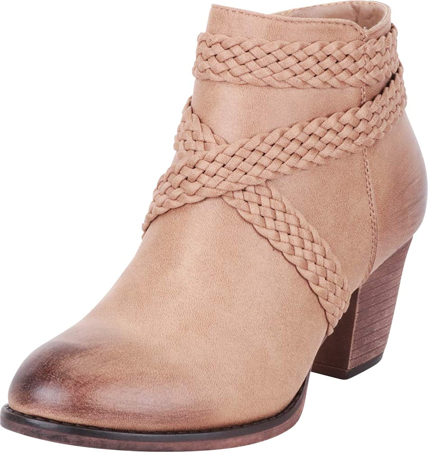 Cambridge Select Women's Distressed Woven Braid Crisscross Strappy Stacked High Heel Ankle Bootie