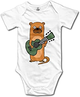 Sea Otter Playing Guitar Infant Baby Boys Girls 100% Organic Cotton Outfits Sunsuit Clothes 0-24M