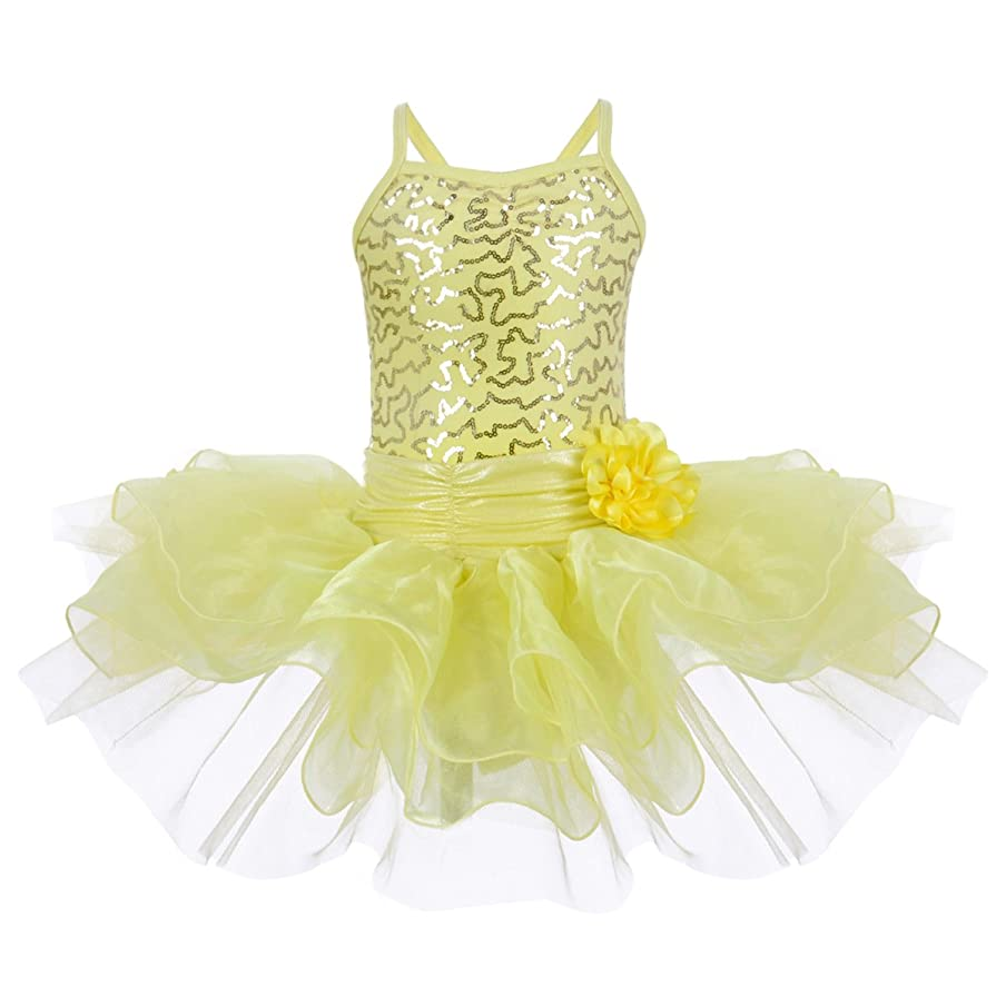 OBEEII Toddler Kid Girl Sequin Ballet Tutu Dress Gymnastics Ballerina Camisole Flower Skirted Leotard Dancewear Costume