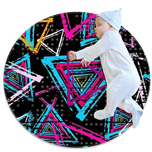 TIZORAX Shaggy-Teppich, farbig, dreieckig, rund, für Wohnzimmer, Schlafzimmer, Kinderzimmer, Heimdekoration, Polyester, multi, 70x70cm/27.6x27.6IN