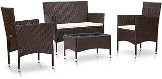 Juego de 4 muebles de comedor de jardín de ratán marrón, juego de 1 mesa rectangular + 1 sofá de 2 plazas con cojines + 2 sillones con cojines