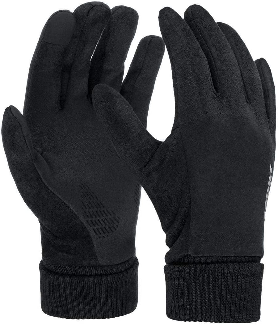 Lupovin-Keep Warm Men Women Winter Strong Touch Screen Gloves Thermal Windproof Raincoat Mitten Non-Slip (Color : Black)