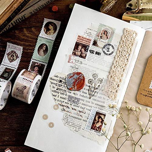 BLOUR plakbanden van papier om te knutselen, cartoon-motief, vintage-stempel, plakband, decoratieve stickers, voor scrapbooking