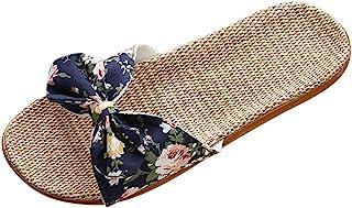 Fankle Women's Slippers Sale Cozy Linen Summer Skidproof Indoor Slippers Boho Bowknot Sandals Flip Flops(Navy,37-38)