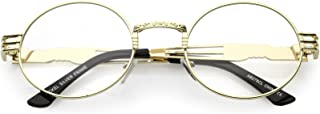 Unique Engraved Metal Steampunk Inspired Clear Lens Oval...