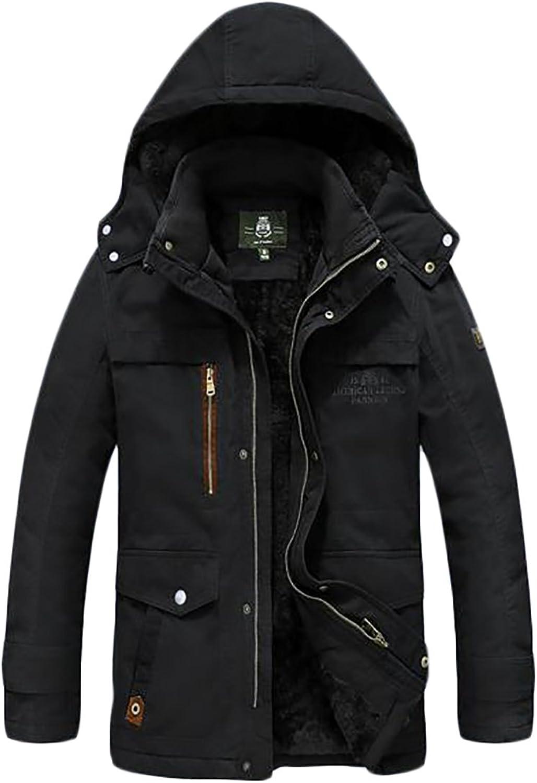 b2ba37ef95 ARRIVE GUIDE Mens Winter Warm Hooded Fleece Lined Outdoor Outdoor Outdoor  Military Parka Coats 18a9de