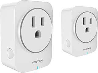 Tenten SO2-US WiFi Enabled 15A Smart Plug work with Amazon Alexa & Google Assistant, No Hub Required, Remote and Voice Control Your, 2 Pack, White Color