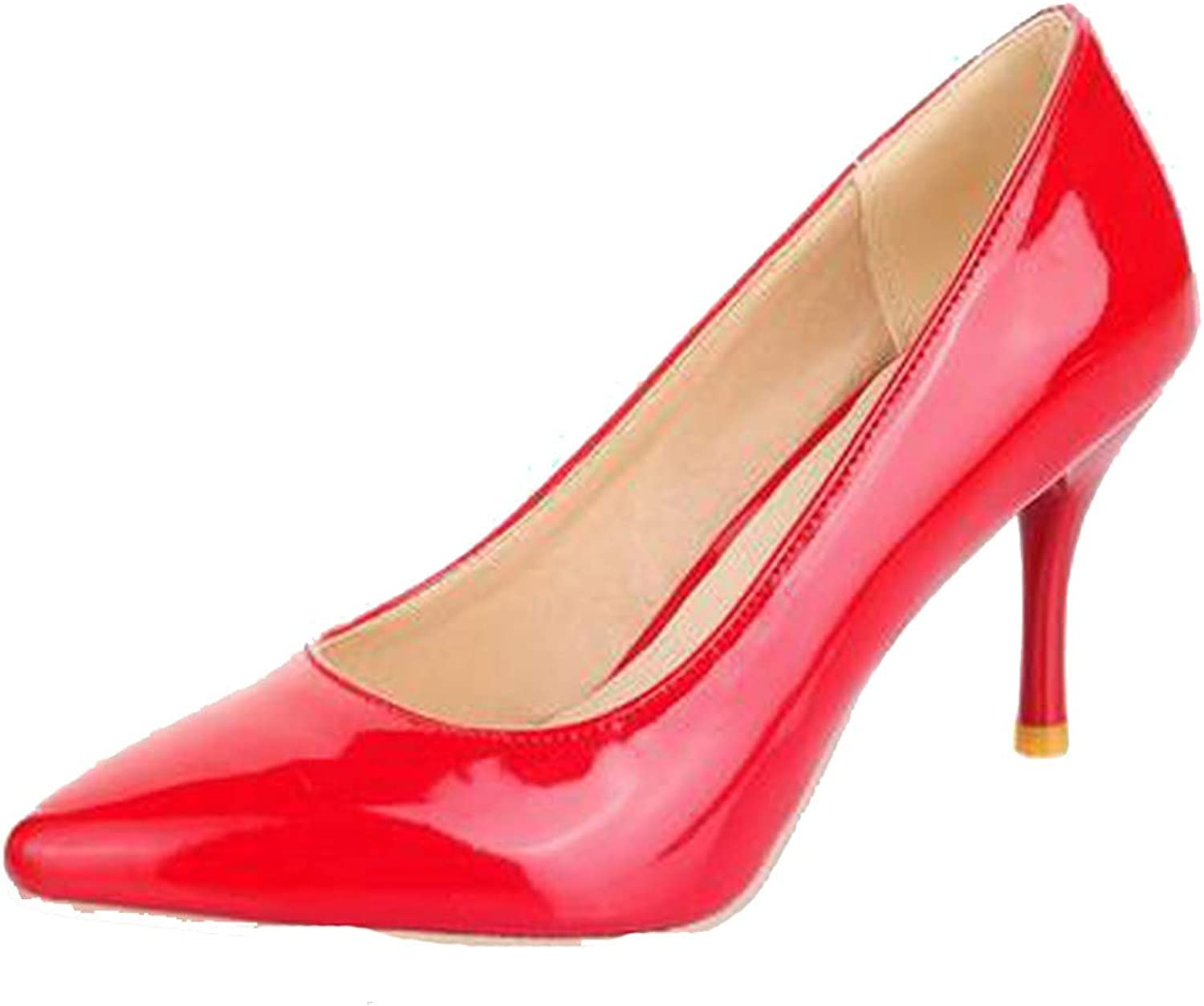 High Heels Women Pumps Thin Heel Classic White red Nude Beige Sexy Ladies Wedding shoes,Red,15