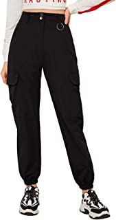 Milumia Women's High Waisted Flap Pocket Solid Utility Cargo Pants Jogger