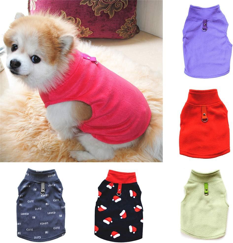 KingbeefLIU Autumn Winter Xmas Pet Dog Clothes Warm Stand Collar Coat Jacket Costume Apparel Dress Up Cute Little Pets Bean Green XS