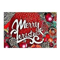 Assanu クリスマスバスルームカーペット赤テーマ装飾スモークボールパインコーンパターン装飾ホームディスプレイ戸口ようこそバスルームバスルームリビングルーム簡単にきれいな繊細なカーペット