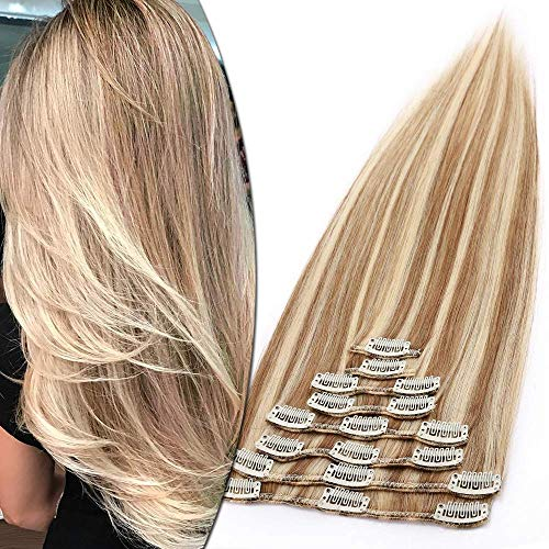 Extension Clip Capelli Veri Balayage Biondo mix Castano 8 Fasce 100% Remy Human Hair Naturali 45cm Extensions Meches 100g #12P613 Marrone Oro mix Biondo Chiarissimo