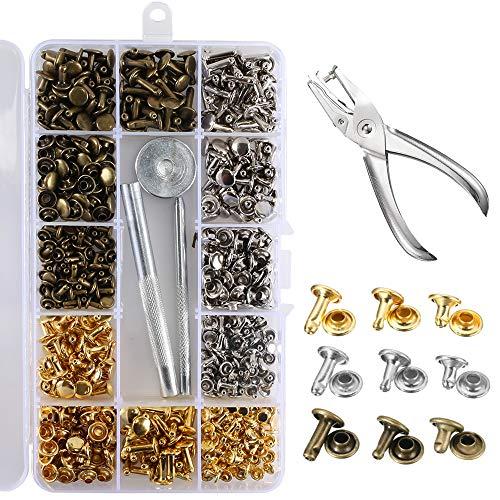 NAHUAA 300 Set Leder Nieten Doppelkappe Größen Hohlnieten Metall mit Nietenzange Lochzange Ledernieten für Leder Gürtel Stoff Papier Kleidung Lederhandwerk 3 Farbe Gold Silber Bronze