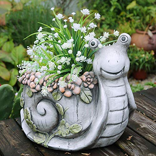 Resin Animal Flower Planter Pot Cute Turtle Flower Garden Home Decoration Outdoor Planter,Snails for Outdoor Decoration