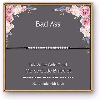 Morse Code Bracelet for Women Men - 14K White Gold Plated Fuck Off Morse Code Bracelets, Black Silk Cord Bracelets Zero Fu...