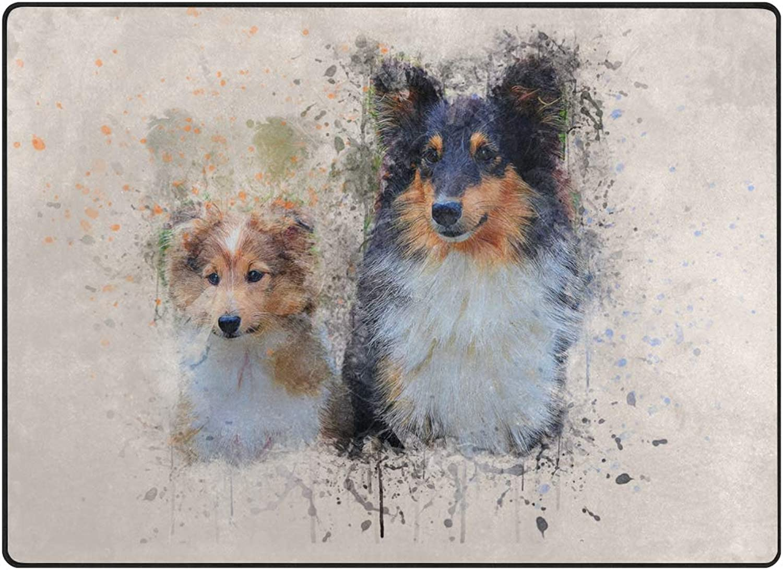 FAJRO Animal Dogs Watercolor Painting Rugs for entryway Doormat Area Rug Multipattern Door Mat shoes Scraper Home Dec Anti-Slip Indoor Outdoor