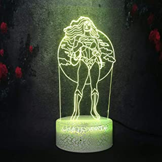 Yan-tech 3D LED Night Light Indoor Desk Table Lamp for Children Marvel Legend Hero Wonder Women 7 Color Change Remote Control Smart Bulb USB Base Charge Battery Powered Gift