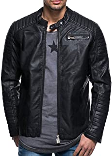 Mens Classic Pleated Leather Jacket Splicing Zipper Stand Collar Imitation Tops