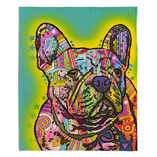 Dia Noche Fleece Blankets Soft Fuzzy 4 Sizes! by Dean Russo French Bulldog Dog 3 - Large 80' x 60'