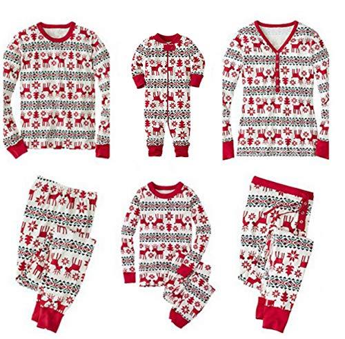 Navidad Pijamas Familias Pijamas Conjuntos Navideños Cómodo Ropa de Noche Homewear Ropa Navidad Camisas + Pantalones para Padre Madre Niño Niña Bebé Rojo