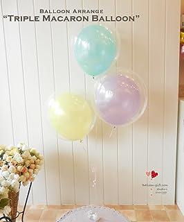クリアでキュートなゴム風船の透明マカロンバルーン3個セット 発表会・ホームパーティ・誕生日に (ミント・ラベンダー・レモン)