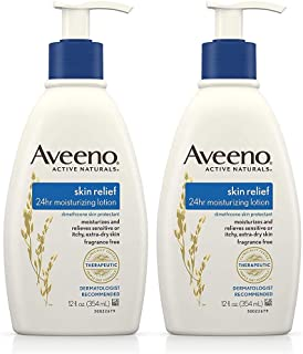 Skin Relief 24-Hour Moisturizing Lotion for Sensitive Skin with Natural Shea Butter & Triple Oat Complex, Unscented Therapeutic Lotion for Extra Dry, Itchy Skin, 12 fl. Oz -2 Pack