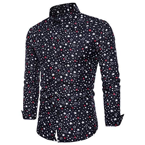 Camisa de Manga Larga con Solapa para Hombre Primavera Delgada Completa Estampado de Estrellas de Cinco Puntas Autocultivo Cmoda Camisa de Todos los Partidos de Tendencia de la Calle XXL