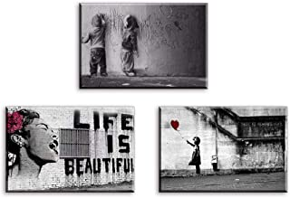 Canvas Wall Art for Bedroom, PIY Small Life is Beautiful Girl with Red Balloon Graffiti Boys on Street Pictures, Modern Pop Prints Artwork Decor with Frame (Waterproof, Bracket Mounted Ready to Hang)