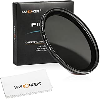 55mm Filter, K&F Concept 55mm Slim HD Milti-Coated Variable Polarizing Fader ND Neutral Density Adjustable ND2 to ND400 Lens Filter for Digital Cameras + Cleaning Cloth