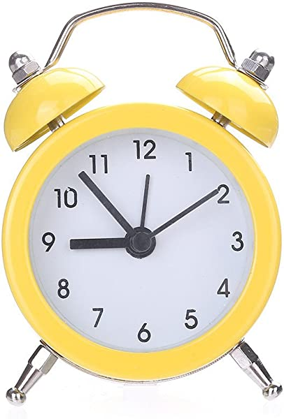 FeiFei66 1PC Cute Mini Alarm Clock Twin Bell Silent Alloy Stainless Metal Alarm Clock