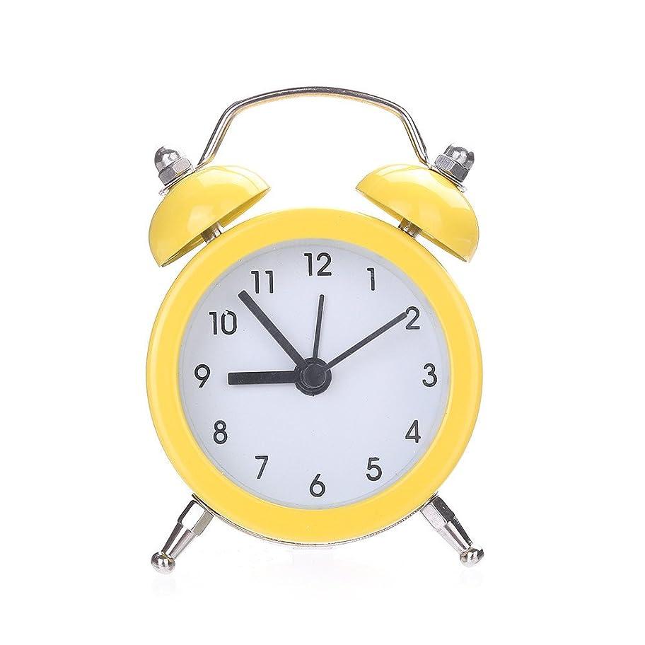 有利バスタブポスターダブルベルサイレント合金ステンレススチールメタル目覚まし時計、ポケットミニメタルデジタル小さな目覚まし時計学生ホームソリッドカラー目覚まし時計 (イエロー)