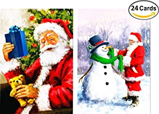 24 Christmas Cards Featuring Vintage Santa Claus (2 Designs, Holiday Greeting Cards with Envelopes)