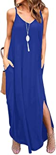 LOVINO Women's Maxi Dress Loose Casual Long Dress Sleeveless Summer Dress with Pocket Split Maxi Dresses for Women