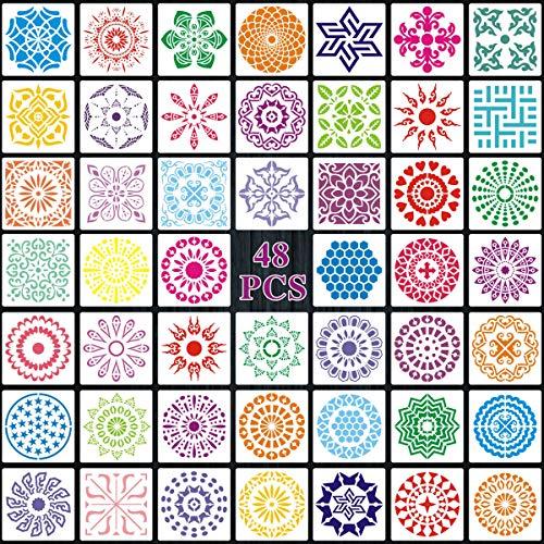 INSANYJ Mandala Schablone Set, 48 Stück mehrfach Wiederverwendbar Dotting Schablonen für Dekoration von Möbel,Steine,Wänden,Kleidern,Basteln DIY,9X9cm