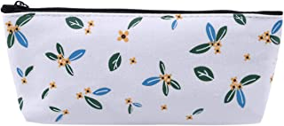 LALANG Simple Large Capacity Zipper Stationery Pencil Case Cosmetic Bag(Flower White)