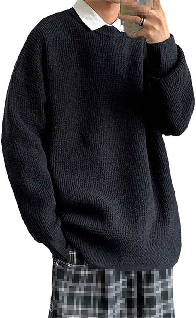 Autumn Winter Men's Sweater Oversize Solid Color Knitted Sweater Casual Pullover Vintage Clothing