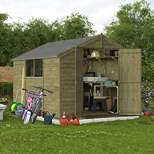 BillyOh Keeper Overlap Apex Shed | Pressure Treated Wooden Garden Storage | Windowed Shed with Roof and Floor Included (10x8)
