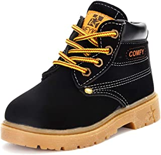 Toddler Kids Boys Girls Waterproof Boots Synthetic Leather Non Slip Outdoor Hiking Martin Ankle Boots Shoes (Toddler/Little Kids)