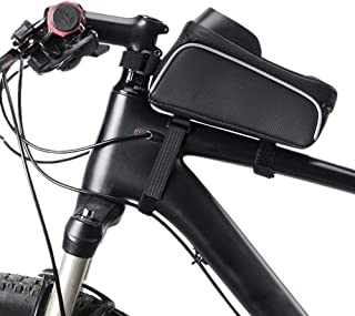 Bike Phone Front Frame Bag, Waterproof Bicycle Phone Mount Bag Touch Screen Mountain Bicycle Phone Holder Pouch Large Capa...