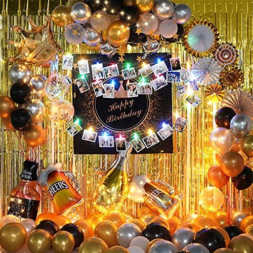 Decoración para fiestas de cumpleaños de adultos para hombres y mujeres, con temática dorada, juego de pósteres Happy Birthday con cadena de luces para una noche encantadora, 79 unidades en total. 🔥