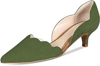 YDN Women Classic Pointy Toe Kitten Pumps Slip-on Suede...