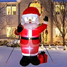 AerWo 6ft Christmas Inflatables Santa Claus, Christmas Blow Up Yard Decoration for Christmas Decorations Outdoor Décor with LED Light Up Giant Xmas Decorations
