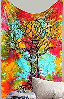Jaipur Handloom Forest Tapestry Wall Hanging Tree Landscape Large Tapestries Trees Tapestry Nature Tapestry Bohemian Psychedelic Wall Decor for Dorm Room Bedroom Living Room