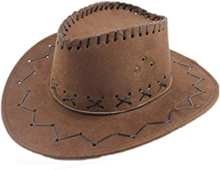 Xiang Ye Jazz Cow Knight Suede Cowboy Cowgirl Fedora Hat West Montana Travel Summer Hat Sun Hat (56-58cm)