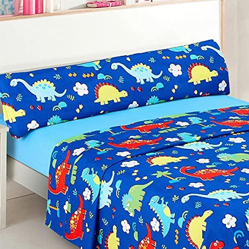 Dalina Textil Juego de Sábanas Infantil para Cama 3 Piezas - 1 Sábanas Bajera Ajustable Cama 90cm con Encimera 165x260cm y 1 Funda de Almohada Larga ( Cama de 90x190-200cm Dinosaurio Azul)