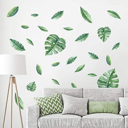 decalmile Pegatinas de Pared Planta Tropicales Vinilos Decorativos Verde Hojas Adhesivos Pared Sala Habitación Dormitorio Oficina