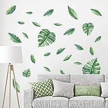 decalmile Muurstickers Groene Bladeren Muurtattoos Tropische Palmboom Bladeren Wanddecoratie Slaapkamer Huiskamer Kantoor ...