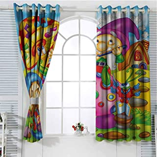 Kids Curtains Cartoon Style Singing Elves with Mushroom Playing Flute Musical Cheerful Illustration Thermal Insulated Grommet Blackout Curtains 55