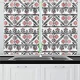 QIAOLII Diseño Inspirado en Las Cortinas de la Cocina rumana Niveles de la Cortina de la Ventana para café, baño, lavandería, Sala de Estar Dormitorio 26 x 39 Pulgadas 2 Piezas
