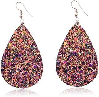 Glitter Earrings Waterdrop Faux Leather Earrings Sequins Dangle Bohemia Earring for Women Girls Purple